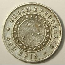 Moeda Antiga De Prata 500 Reis 1889, Mbc++