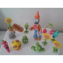Plantas Vs Zombies - Adorno Para Torta En Porcelana Fría