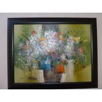 Pintura En Óleo A La Espátula Bodegon De Flores