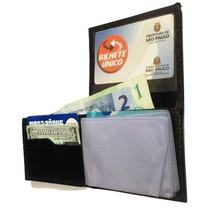Mini Carteira Couro Legítimo Porta Cartões Dinheiro Cnh Mg1