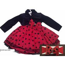 Vestido Festa Minnie Joaninha Luxo Vermelho Bolero E Faixa