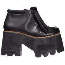 Zapatos Mujer Plataforma Altos Cuero Negro Cierra Flecos