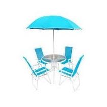 Conjunto Ombrelone Mesa 4 Cadeiras Azul Piscina