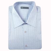 9161 - Camisa Vr Office M Longa - Algodão - Azul Listrada