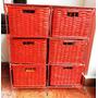 Mueble De Hierro Y Canastos Mimbre Patinado Rojo 6 Cajones