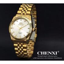 Relógio Masculino Casual Analógico Dourado De Luxo Chenxi