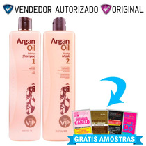 Combo Escova Progressiva Vip Argan Oil - Kit 2x1000ml