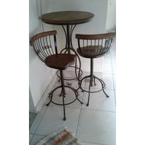 Mesa Com 2 Cadeiras Em Madeira De Demolição Frete A Combinar