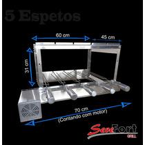 Churrasqueira Giratória Gira Grill Inox 5 Espetos Motor Weg