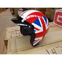 Casco Tipo Chopper Certificacion Bandera Inglaterra C/lente