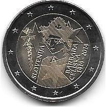 Moneda Eslovenia Bimetalica 2 Euro Año 2014 Barbara Celiska