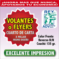 1000 Volantes Mil Flyers Flayer Un Cuarto 1/4 Todo Color