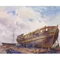 Lienzo Tela Construcción Barco Madera Isaac Brock 50 X 63 Cm