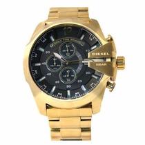 Relógio Diesel Dourado Fundo Preto Original Sedex Grátis