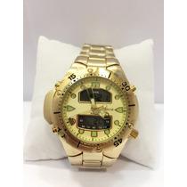 Relógio Masculino Atlantis Dourado Ponteiros Com Digital