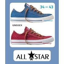 Tênis All Star Sneaker Azul Jeans Vermelho Destroier Rasgado
