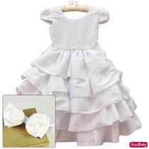 Vestido Luxo Branco Dama Primeira Comunhao Formatura E Tiara