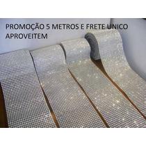 Manta Falso Strass Prata - Artesanato, Decoração, 5 Metros