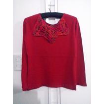 Sweater De Lana C/ Fibra C/cuello Tejido Crochet - Nuevo -