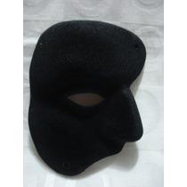 Mascara Fantasma Da Ópera Preta Camurça Carnaval Haloween