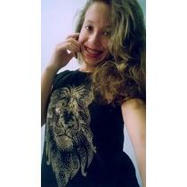 Camiseta Feminina Preta Strass Leão Personalizada Algodão