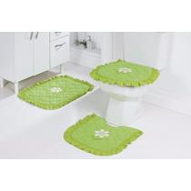 Jogo De Banheiro 03 Pçs Verde Bordado Com Flores
