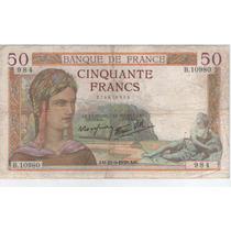 Billete Francia 50 Francos 1939 Pick 85b B/mb