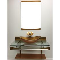 Kit Gabinete Vidro Cuba Oval + Misturador Cascata Dourado