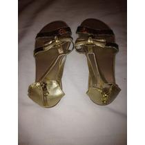 Sandalia Rasteira Dourada Com Glitter Tamanho 34