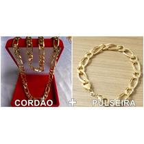 Cordao Grosso Folheado Ouro + Pulseira Ostentaçao Masculino