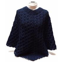 Capa Poncho Tejido A Crochet Color Azul Marino