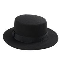 Sombrero Negro Redondo Ala Ancha Lana Vintage Unisex