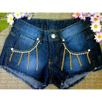 Shorts Jeans Feminino Customizado Hot Pants Cintura Alta