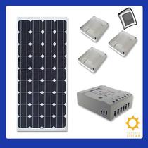 Kit Solar 85w + Controlador + 4 Luminárias + Inversor P/110v