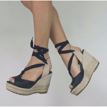 Sandália Anabela Alta Corda Amarrar Preto Marca Leluel Shoes