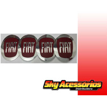 Emblema De Alumínio Da Fiat Vermelho 90mm