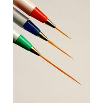Set De 3 Pinceles Liner Decoración Uñas Manicure Pedicure