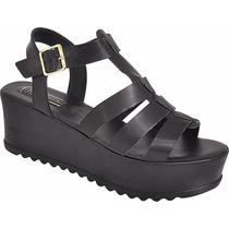 Sandalia Sapato Feminina Salto Alto Anabela Tratorada Aranha