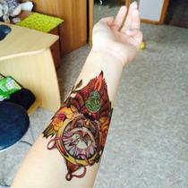 Tatuagem Temporária 3d Grande Muito Real Rosas Folhas Coruja