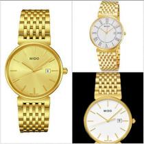 Relógio Masculino Mido Slim Dourado 21 Microns De Ouro
