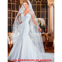 Vestido De Noiva Modelo Sereia Com Véu Manga Longa
