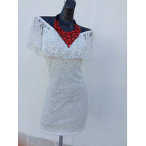 Vestido De Encaje Blanco Strech Campesino