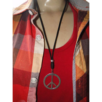 Cordão De Couro Com Simbolo Da Paz