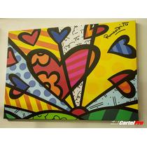 Cuadro En Lienzo Canvas 380 Grs - Britto Corazones 70x100