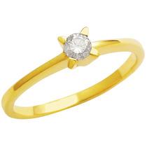 Anel Em Ouro 18k Solitário Diamante 15 Pontos - Sol15