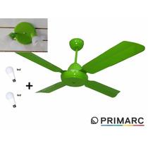 Ventilador De Techo Con Luz Led 4 Palas Metal Color Verde