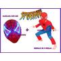 Disfraz + Mascara Con Luz Spiderman Hombre Araña Rojo