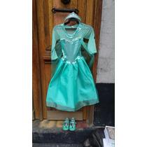 Hermoso Vestido Elsa Frozen Con Peluca Corona Zapatos Capa