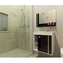 Gabinete Armário Para Banheiro Com Pia Veneza Branco_preto