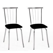 Cadeira Cromada Carraro Móveis Nina 02 Unidades Preto